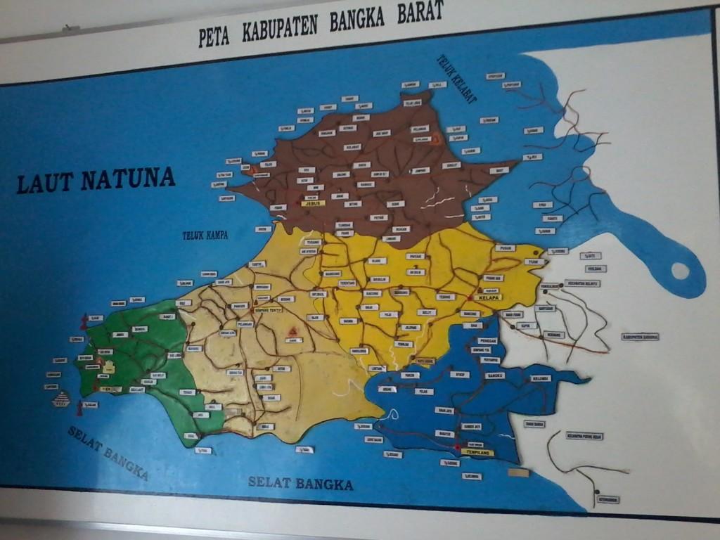 Peta Bangka barat dimana terletaknya daerah Bukit Manumbing dan Muntok